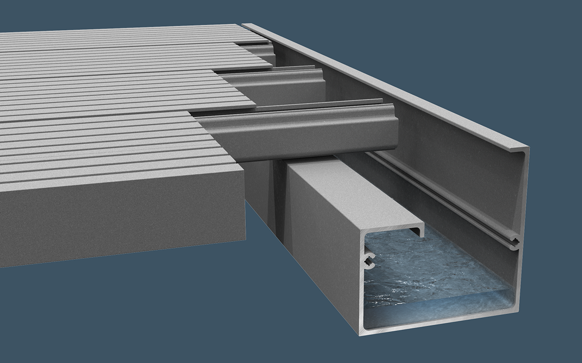 AliDeck Aluminium Decking Balcony Drainage System Cross Section Showing Detail of Drainage Channel and Drainage Guttering