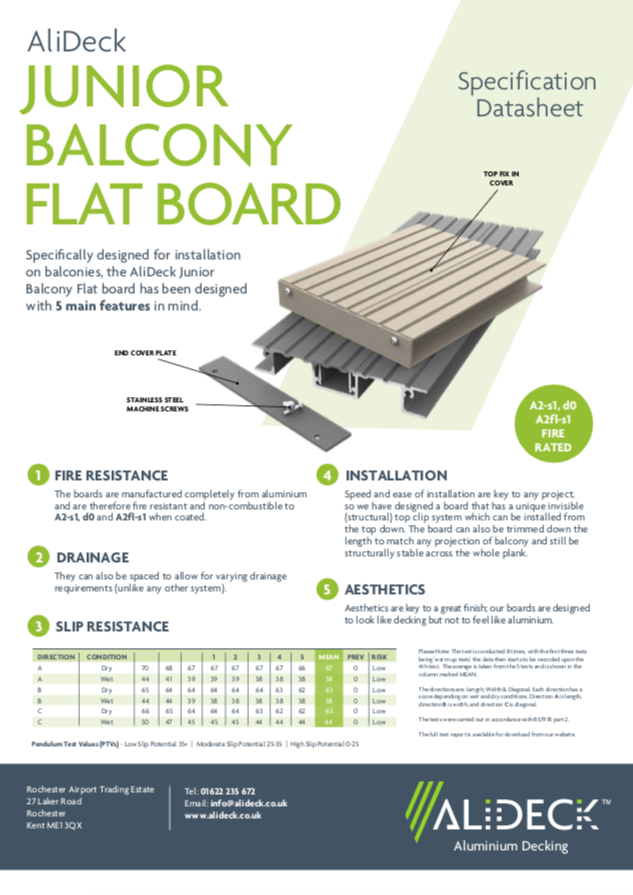 AliDeck Flat Junior Balcony Decking Board Data Sheet