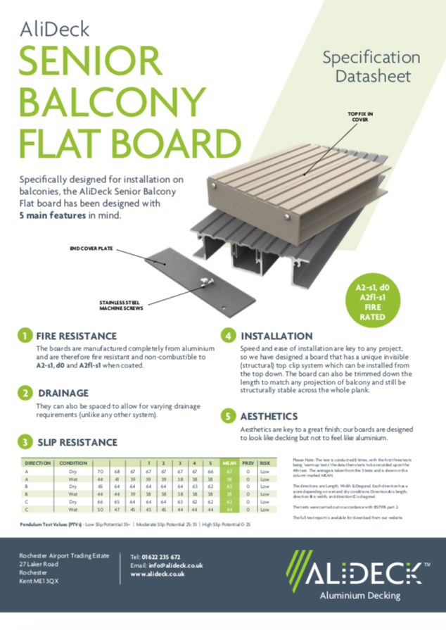 AliDeck Flat Senior Balcony Decking Board Data Sheet