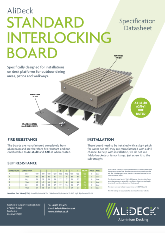 AliDeck Standard Interlocking Decking Board Data Sheet