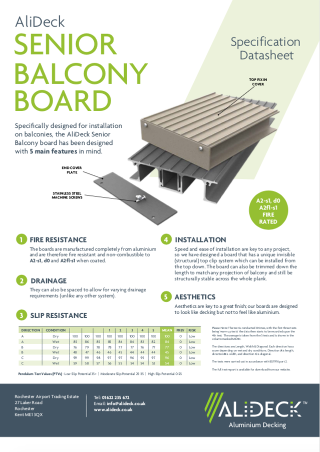 AliDeck Senior Decking Board Data Sheet