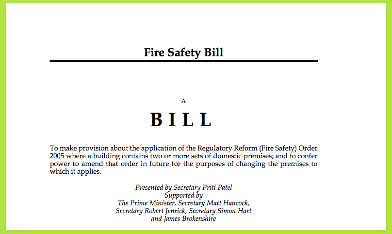 AliDeck react to the First Reading of the Fire Safety Bill