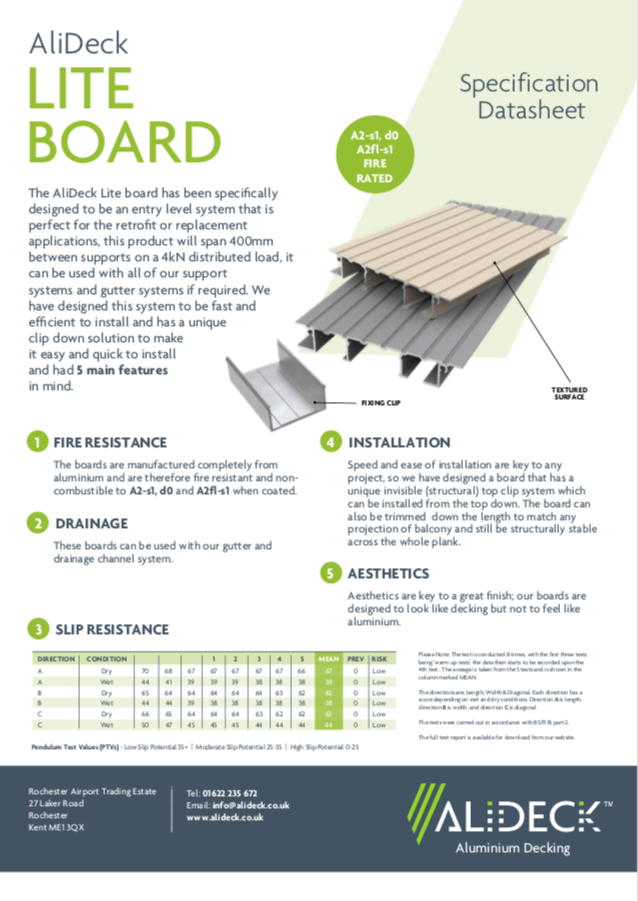 AliDeck Lite Decking Board Data Sheet