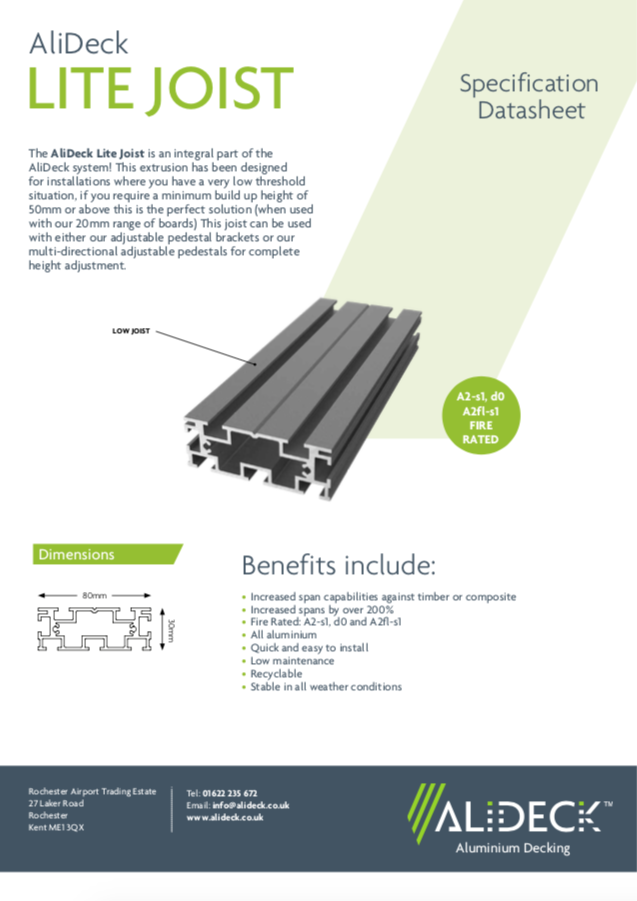 AliDeck Lite Decking Joist Data Sheet