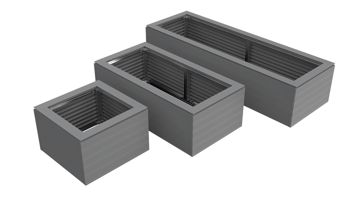 The AliDeck aluminium planter kit is available in three sizes to suit all requirements