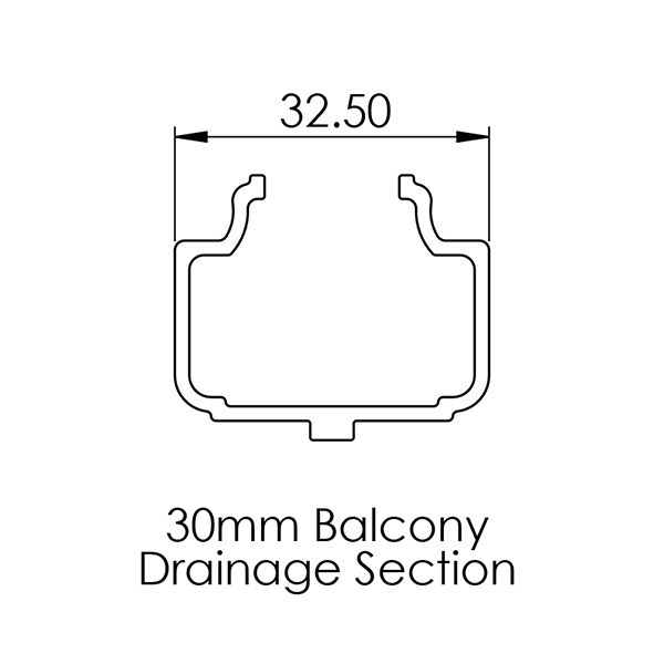AliDeck Drainage Channel for 30mm Senior Aluminium Decking Boards
