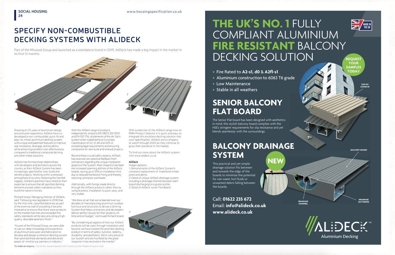 AliDeck featured in March/February issue of Housing Specification Magazine discussing our range of aluminium decking products
