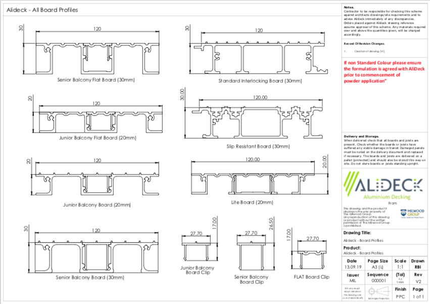 AliDeck Aluminium Decking Boards Profile Drawings
