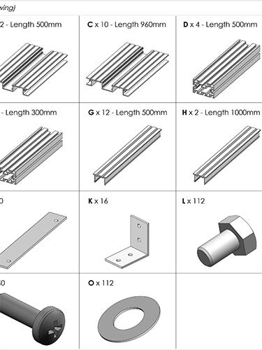 AliDeck Aluminium Metal Decking 1000x500 Planter Kit Drawing Thumbnail