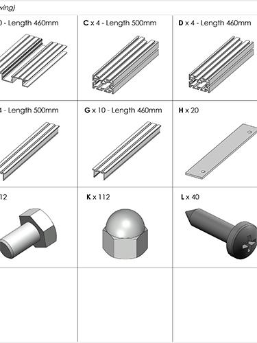 AliDeck Aluminium Metal Decking 500x500 Planter Kit Drawing Thumbnail