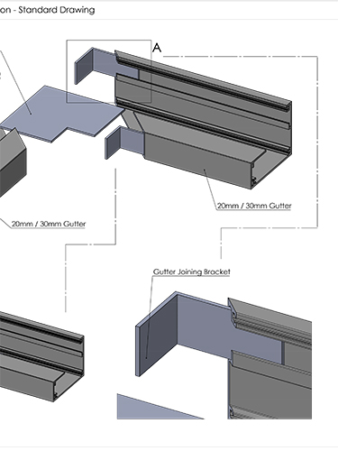 AliDeck Metal Decking Aluminium Gutter Channel Connection Drawing Thumbnail