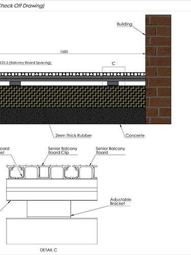 AliDeck Aluminium Metal Decking Senior Board In Concrete Tray Balcony