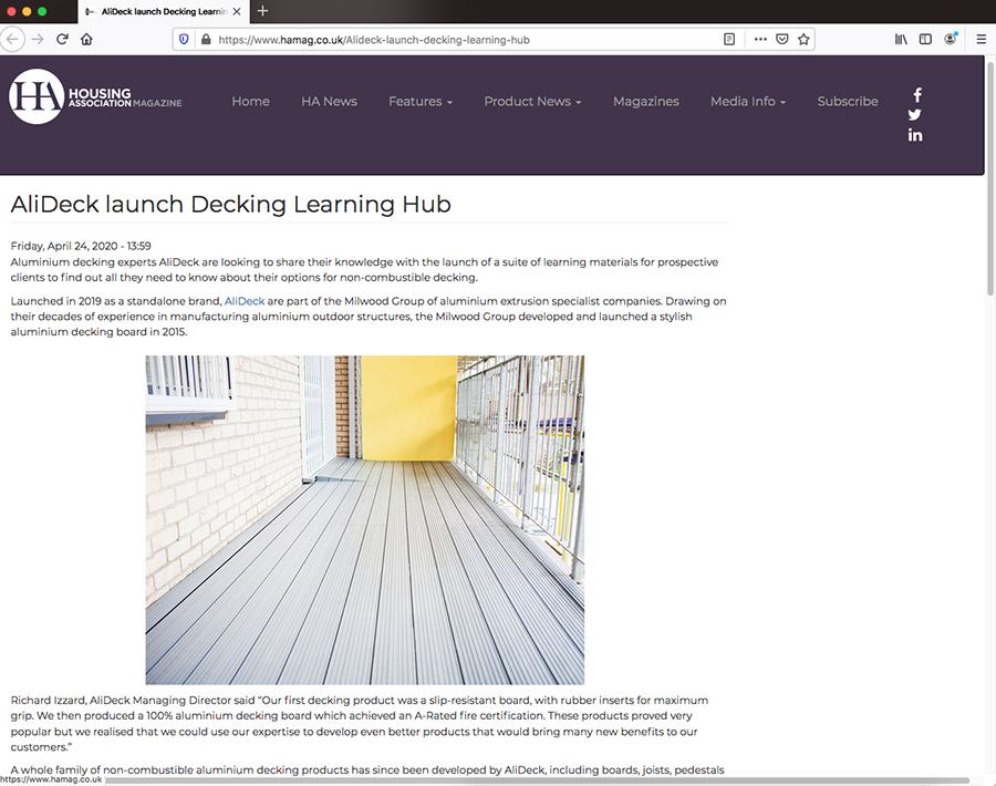 AliDeck aluminium metal decking Learning Hub featured in Housing Association Magazine