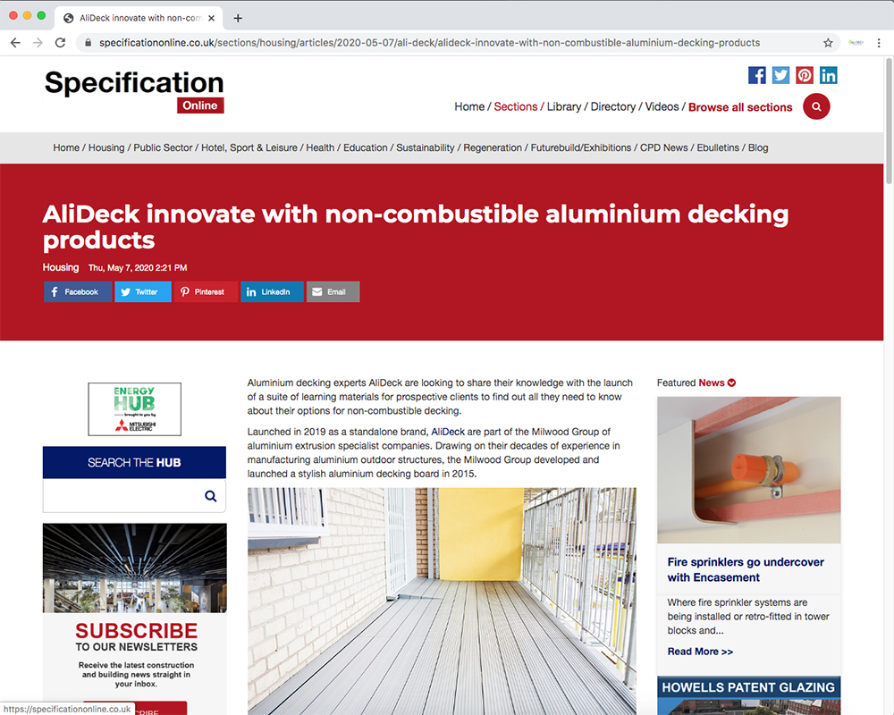 AliDeck aluminium metal decking Learning Hub featured in Specification Online