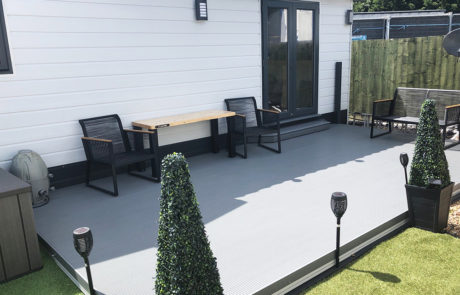 AliDeck Non-Combustible Aluminium Metal Decking Installed At Static Caravan For Fire and Slip Resistant Terrace Deck