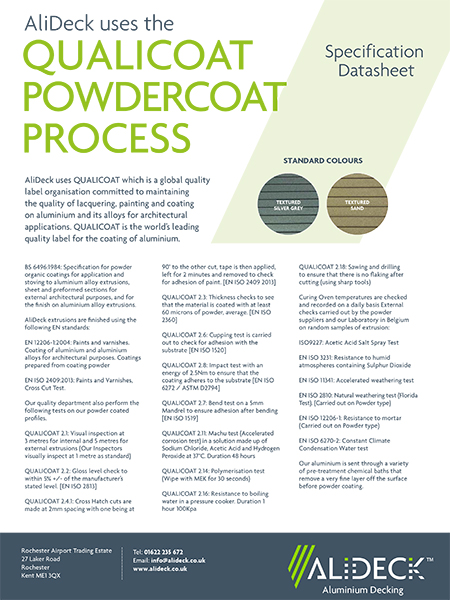 AliDeck Non-Combustible Aluminium Metal Decking Qualicoat Powder-Coating