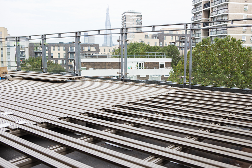 AliDeck Non-Combustible Aluminium Metal Decking Team Head To bermondsey penthouse Apartment To Inspect Roof Terrace Install