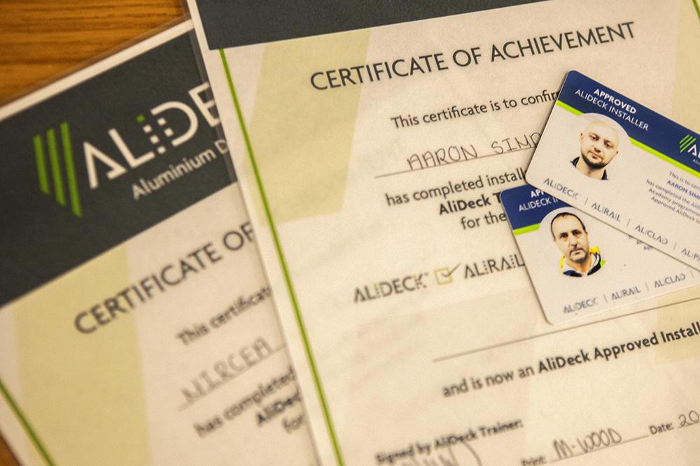 AliDeck Non CombustibleAluminium Decking Training Academy Training Certificates