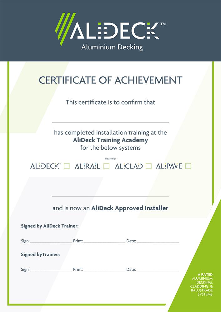 AliDeck Aluminium Decking Installation Training Certificate
