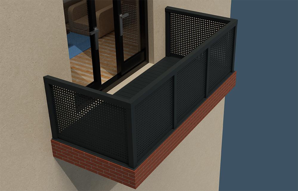 AliRail Non-Combustible Aluminium Balcony Balustrade System Aluminium Infill