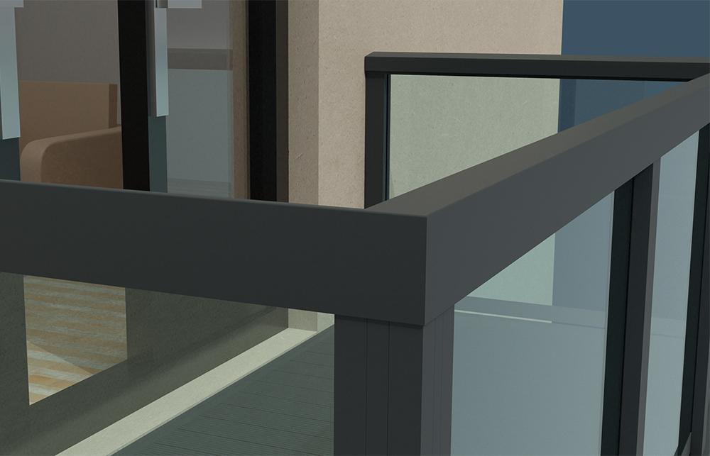 AliRail Non-Combustible Aluminium Balcony Balustrade System Glass Infill