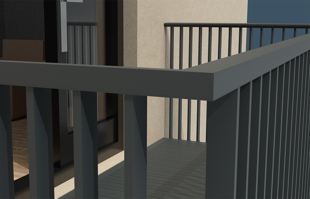 AliRail Balcony Balustrade System with Spindle Infill