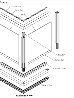 AliRail System With Glass Infills - Standard Drawing
