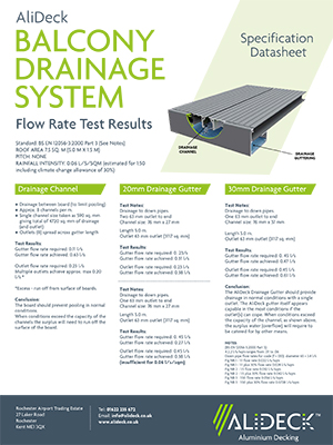 AliDeck Drainage Flow Rate Test Results