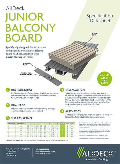 AliDeck Junior Balcony Board Spec Sheet