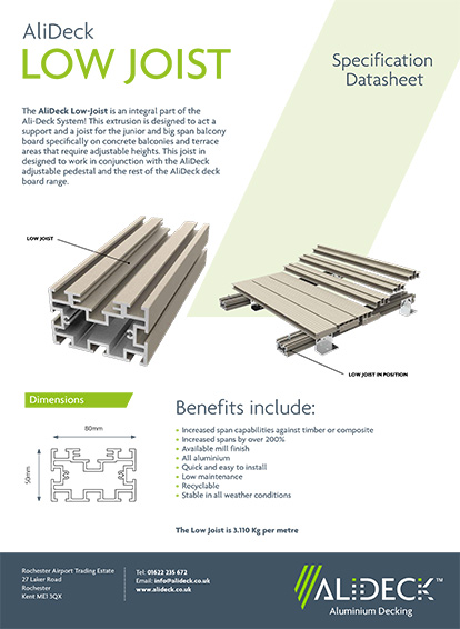 AliDeck Low Joist Spec Sheet