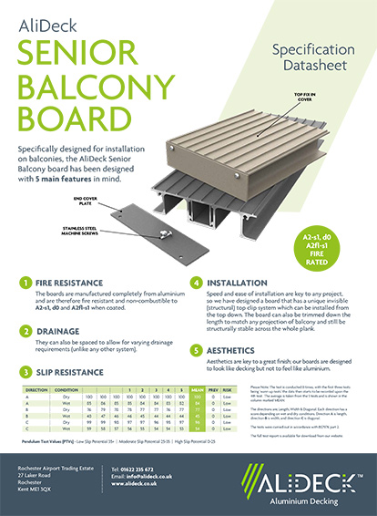 AliDeck Senior Balcony Board Spec Sheets