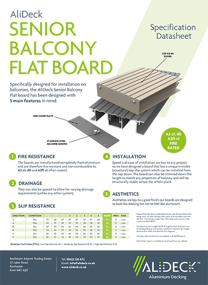 AliDeck Senior Balcony Flat Board