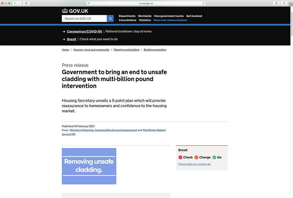 MHCLG New Funding For Cladding Remediation