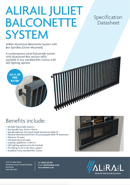 AliRail Juliet Balconette System Outer Mounted