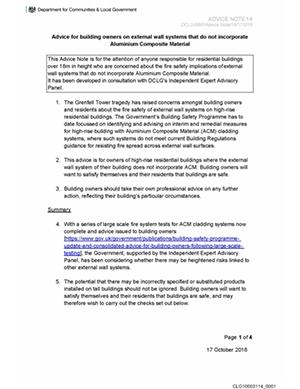 MHCLG Advice Note 14 (December 2018)