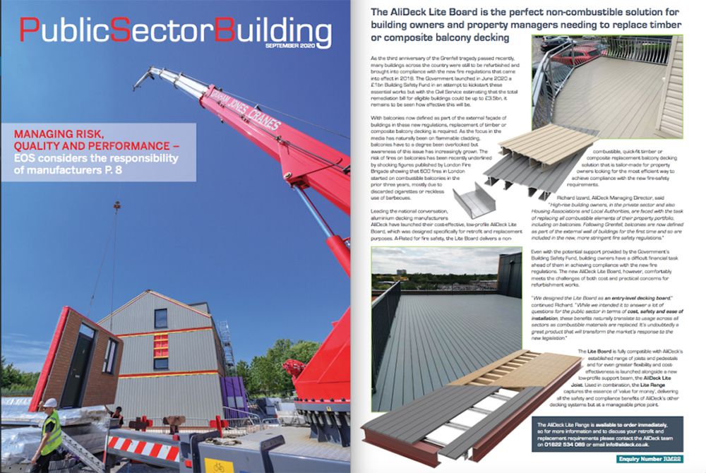 AliDeck Lite Board Featured In Public Sector Building Magazine September 2020