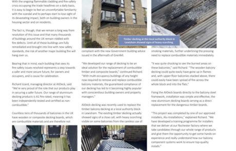 AliDeck Housing Association Magazine April 202 Aluminium Decking Retrofit EWS1