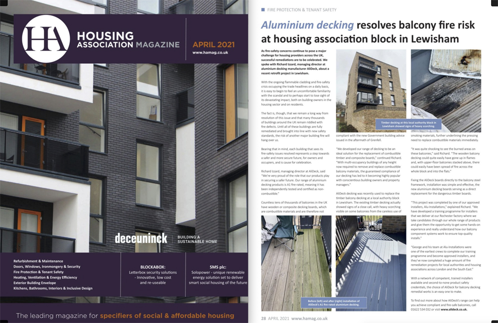 AliDeck Housing Association Magazine April 202 Aluminium Decking Retrofit EWS1