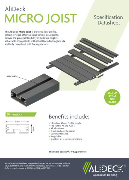 AliDeck Micro Joist Spec Sheet