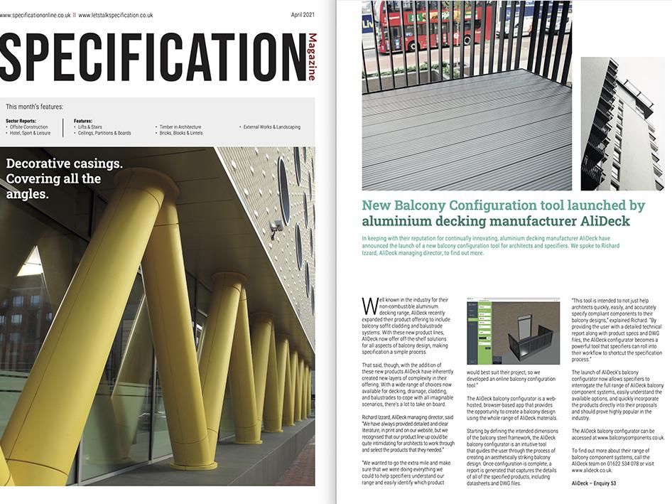 AliDeck Specification Magazine Balcony Configurator Launch April 2021