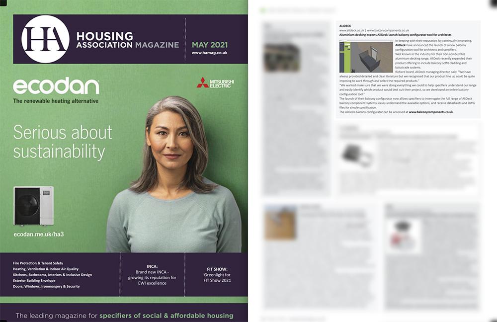 AliDeck Balcony Configurator Housing Association Magazine May 2021