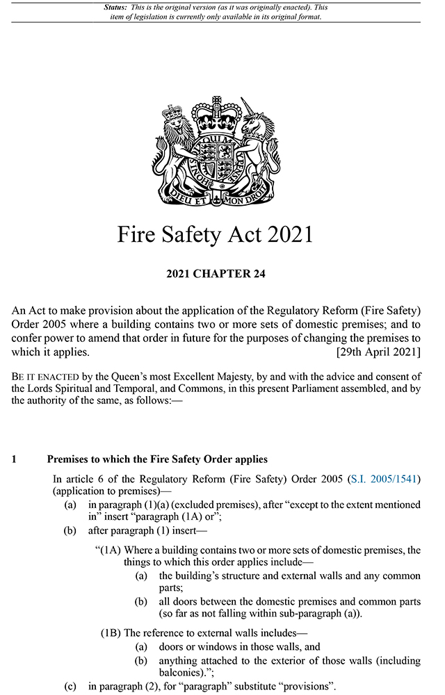 Fire Safety Act 2021