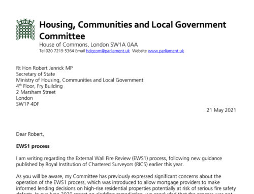 HCLGC Chair Clive Betts MP writes to MHCLG Minister Robert Jenrick re ongoing EWS1 difficulties