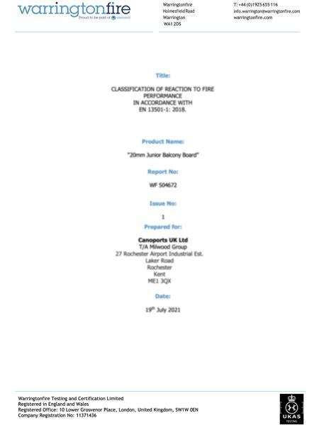 AliDeck A2FL-s1 – 30mm (Grey) Classification Report