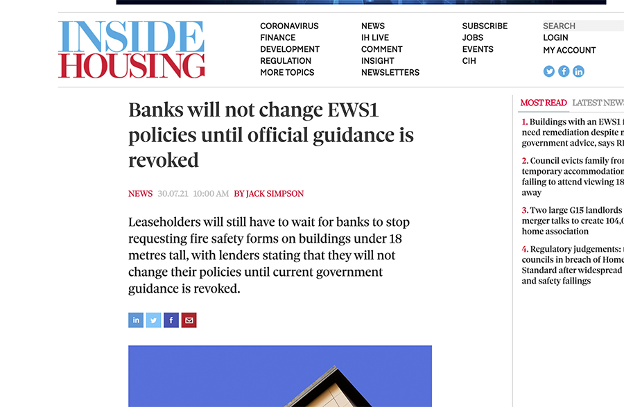 Lenders continue to insist on EWS1 forms despite Government intervention