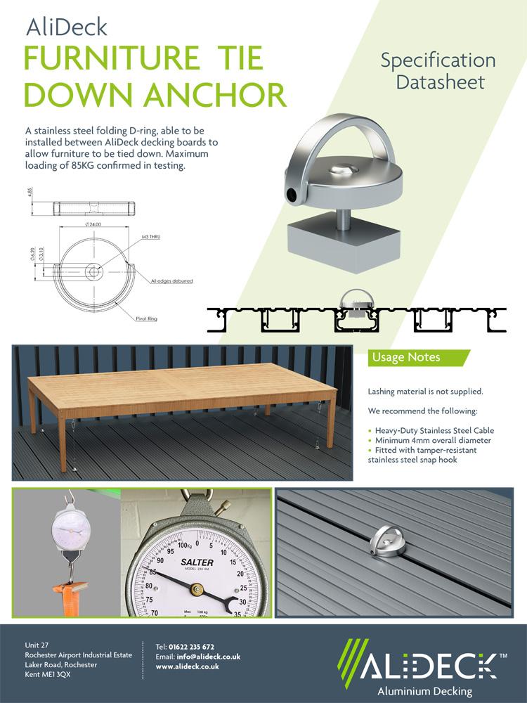 AliDeck Aluminium Decking Furniture Tie Down Ring Specification Sheet