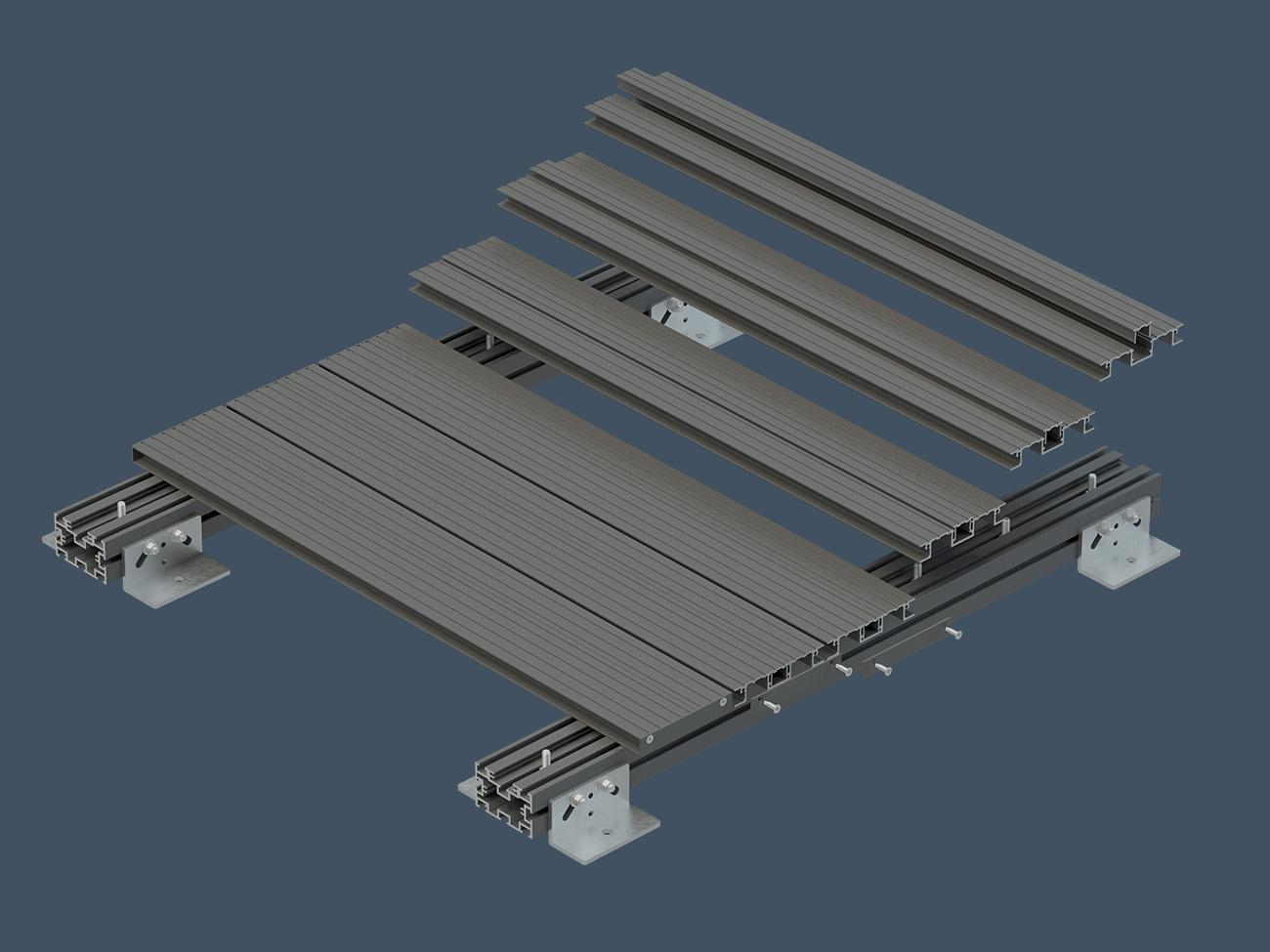 AliDeck Junior Flat Board Low Joist and Pedestal Bracket Full System