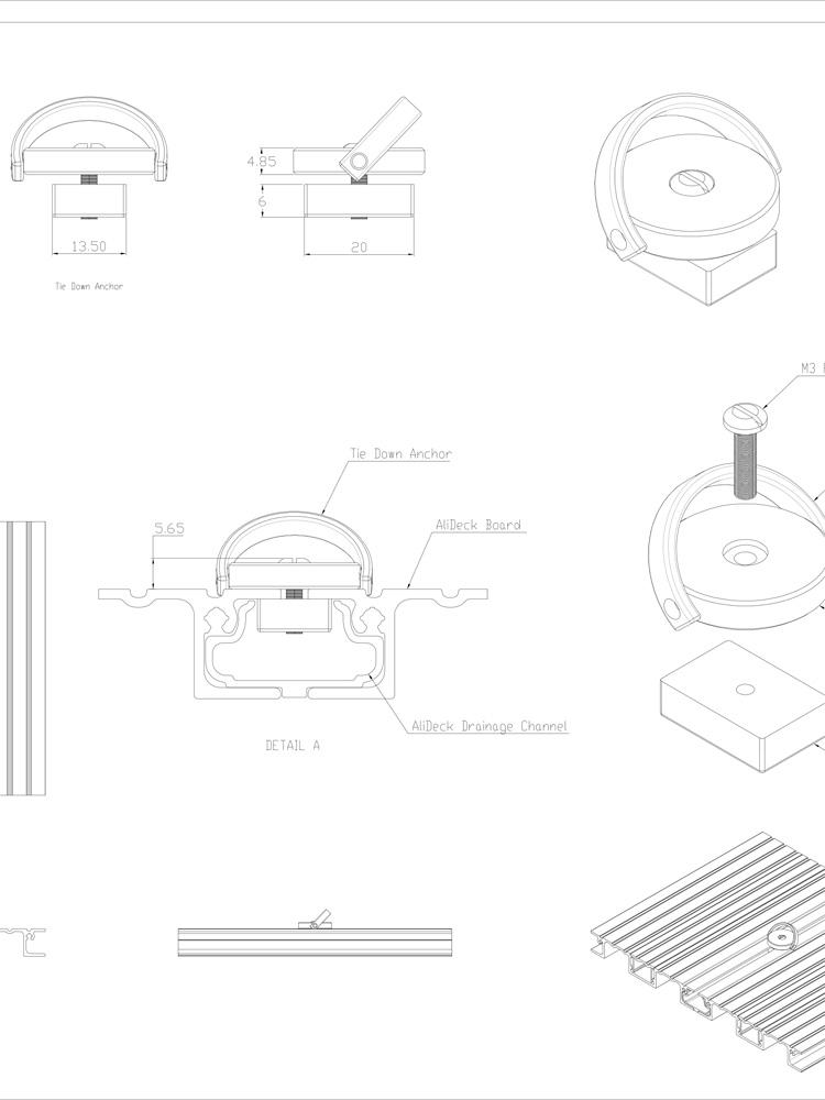 AliDeck Aluminium Decking Furniture Tie Down Ring Standard Drawing